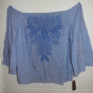 NWT INC Women's Plus Embroidered Top 3X